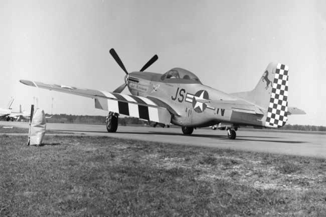 P-51 at Hyanis Airport April 28, 1984