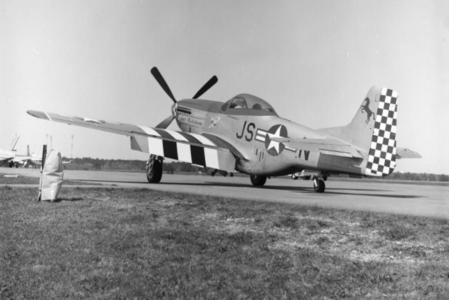 P-51 at Hyanis Airport April 28, 1984