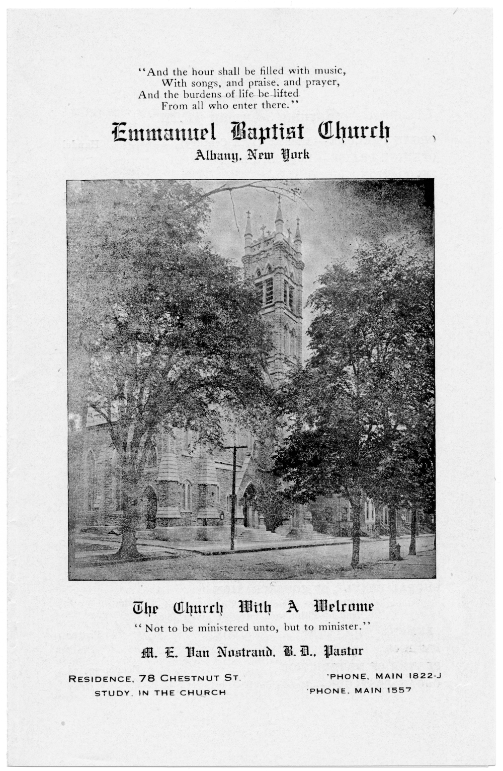 Church Bulletin Nov 19, 1919 page 1