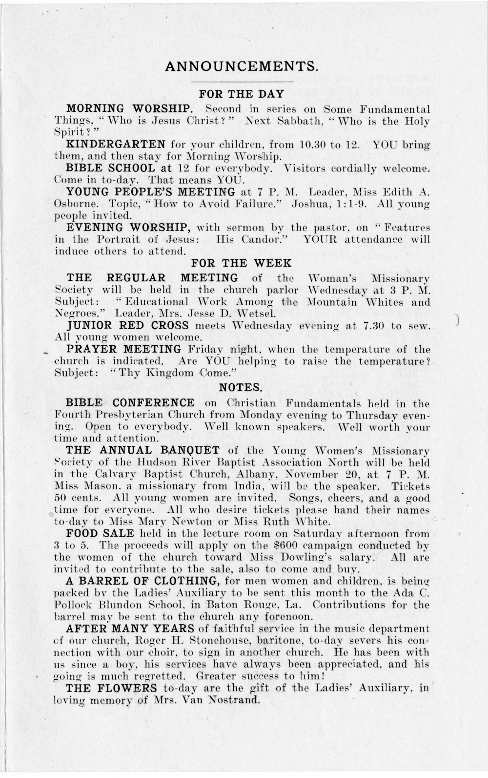 Church Bulletin Nov 19, 1919 page 3