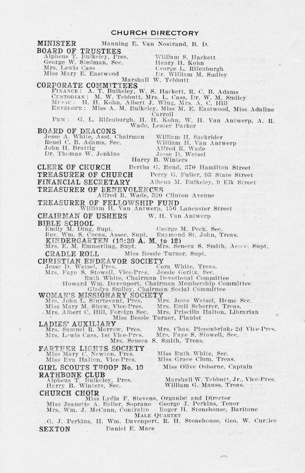 Church Bulletin Nov 19, 1919 page 4